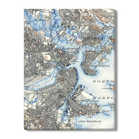 Kaart van Boston // 1915
