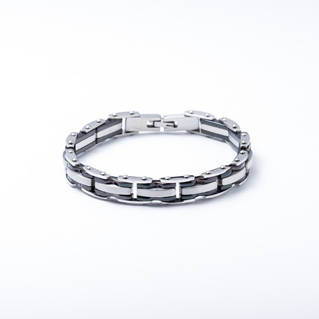 Link Bracelet // Black + geborsteld RVS