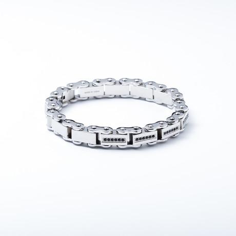 Link Bracelet // Black Gesimuleerde Diamond accenten