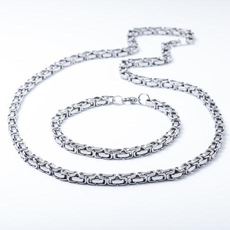 Byzantijnse Ketting + armband set // Roestvrij staal
