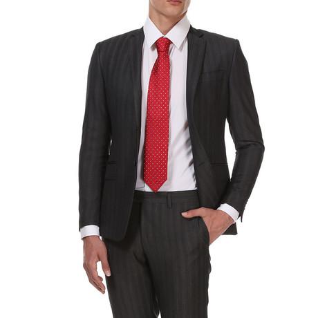 Slim Classic Suit // Grijs + White Stripe