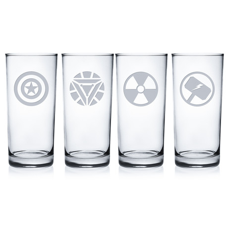 Superheroes 1 (Pint Glasses // Set of 4)
