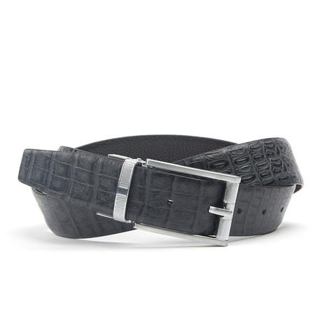 Traditionele Crocodile Belt // Steel Black