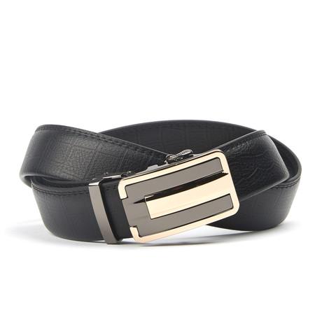 Geweven Track Belt // Black + Gold Pattern