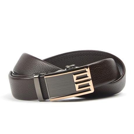 Geweven Accent Track Belt // Black + Gold