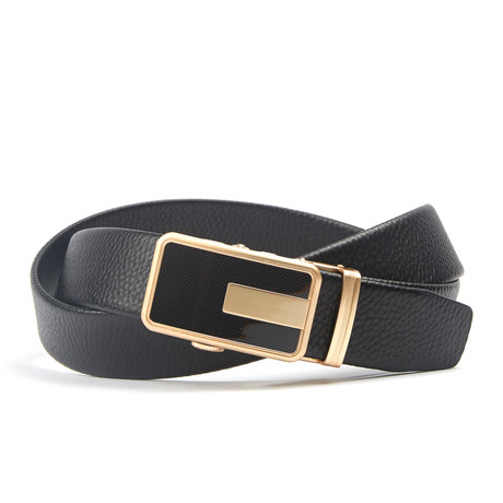 Accent Track Belt // Black + Gold Pattern
