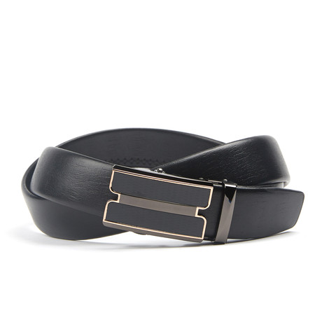 Double Bar Track Belt // Black + Gold