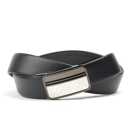 Accent Track Belt // Black + Silver Pattern