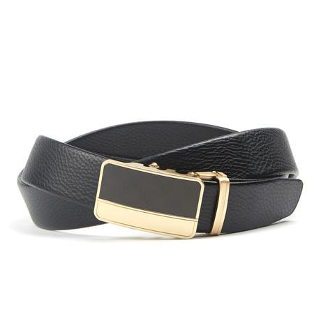 Geweven Track Belt // Black + Gold