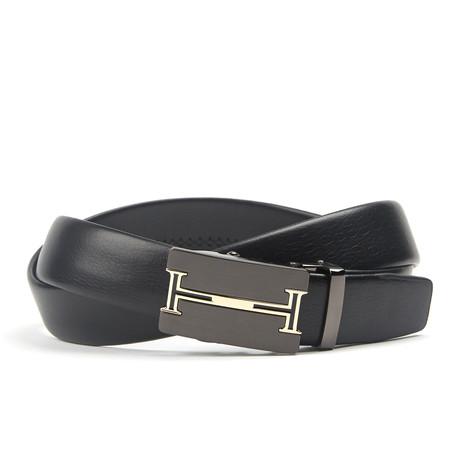 Accent Track Belt // Black + Gold