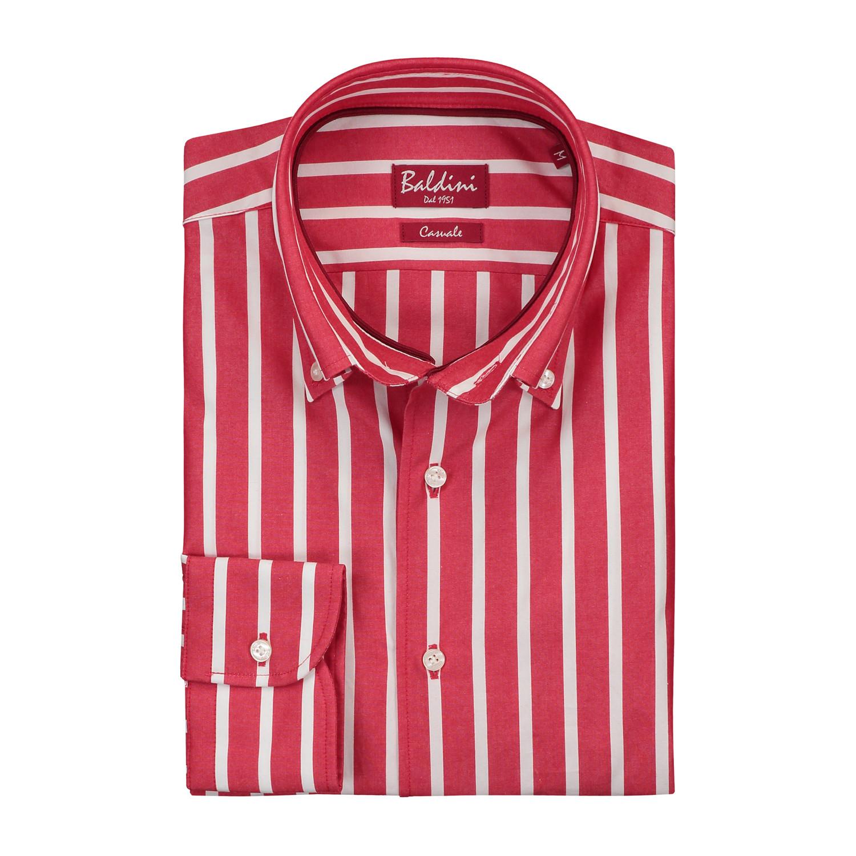 Button down red white wide stripe m baldini for Red and white striped button down shirt