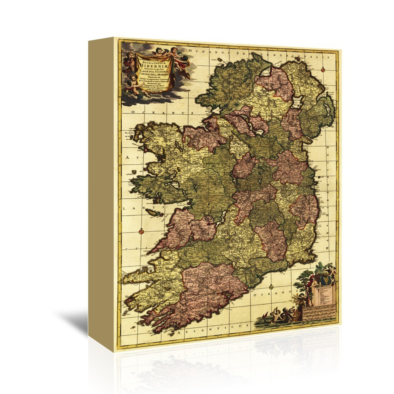 Map Of Ireland 32.Ireland Panoramic Map 32 L X 48 W X 1 5 D Vintage Maps