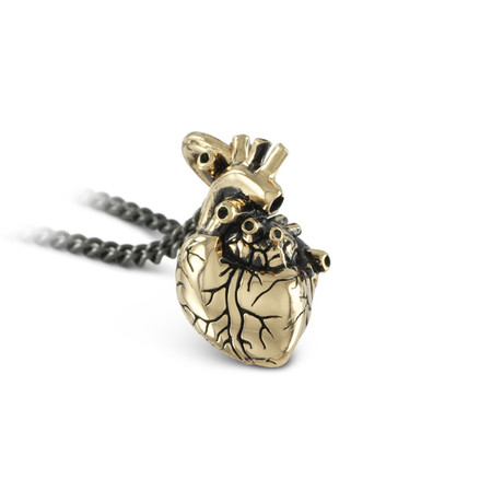 "Small Anatomical Heart Necklace (Bronze // 20"" Gunmetal Chain)"