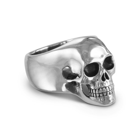 Skull Ring // White Bronze (Size 5.5)
