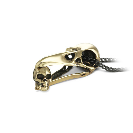 "Raven Skull with Human Skull Necklace (Bronze // 20"" Gunmetal Chain)"