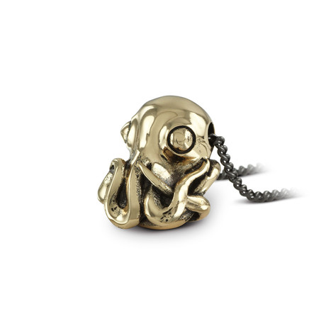 "Octopus Necklace (Bronze // 20"" Gunmetal Chain)"