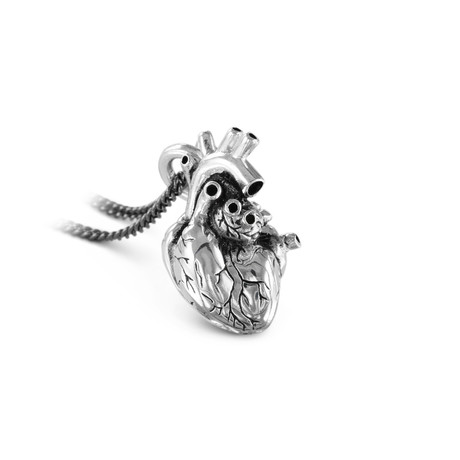 "Anatomical Heart Necklace (Bronze // 20"" Gunmetal Chain)"