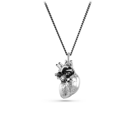 "Anatomical Heart Necklace // White Bronze (20"")"