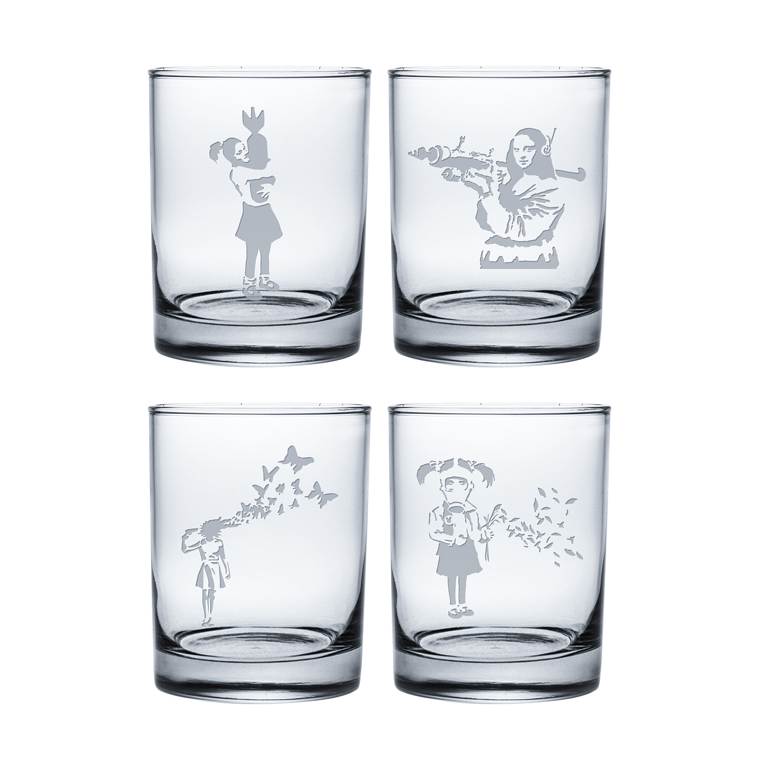 banksy collection 3  coolers      set of 4  - susquehanna glass