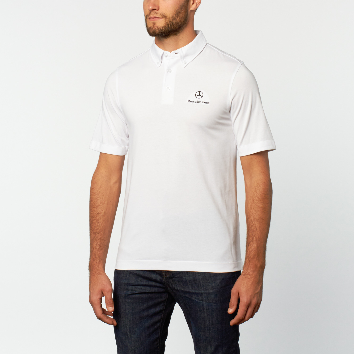 Chest logo polo white s mercedes benz clothing for Mercedes benz wear