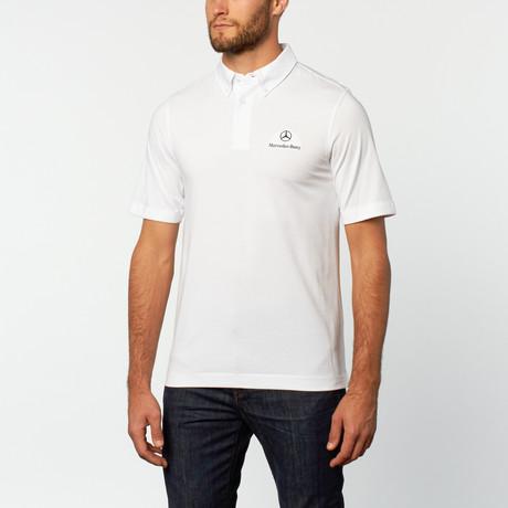 Chest logo polo white s mercedes benz clothing for Mercedes benz shirts and clothing