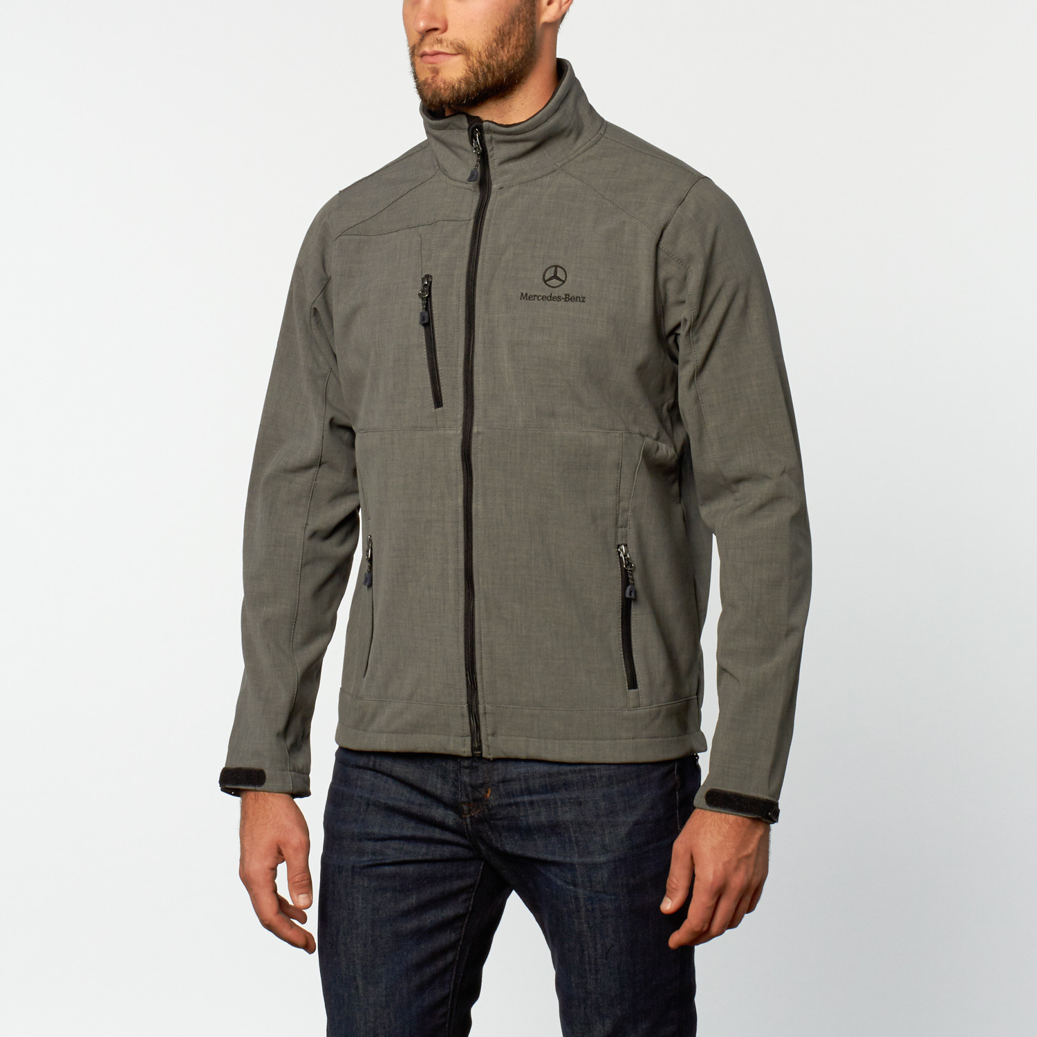 Chest zip soft shell jacket grey s mercedes benz for Mercedes benz jacket