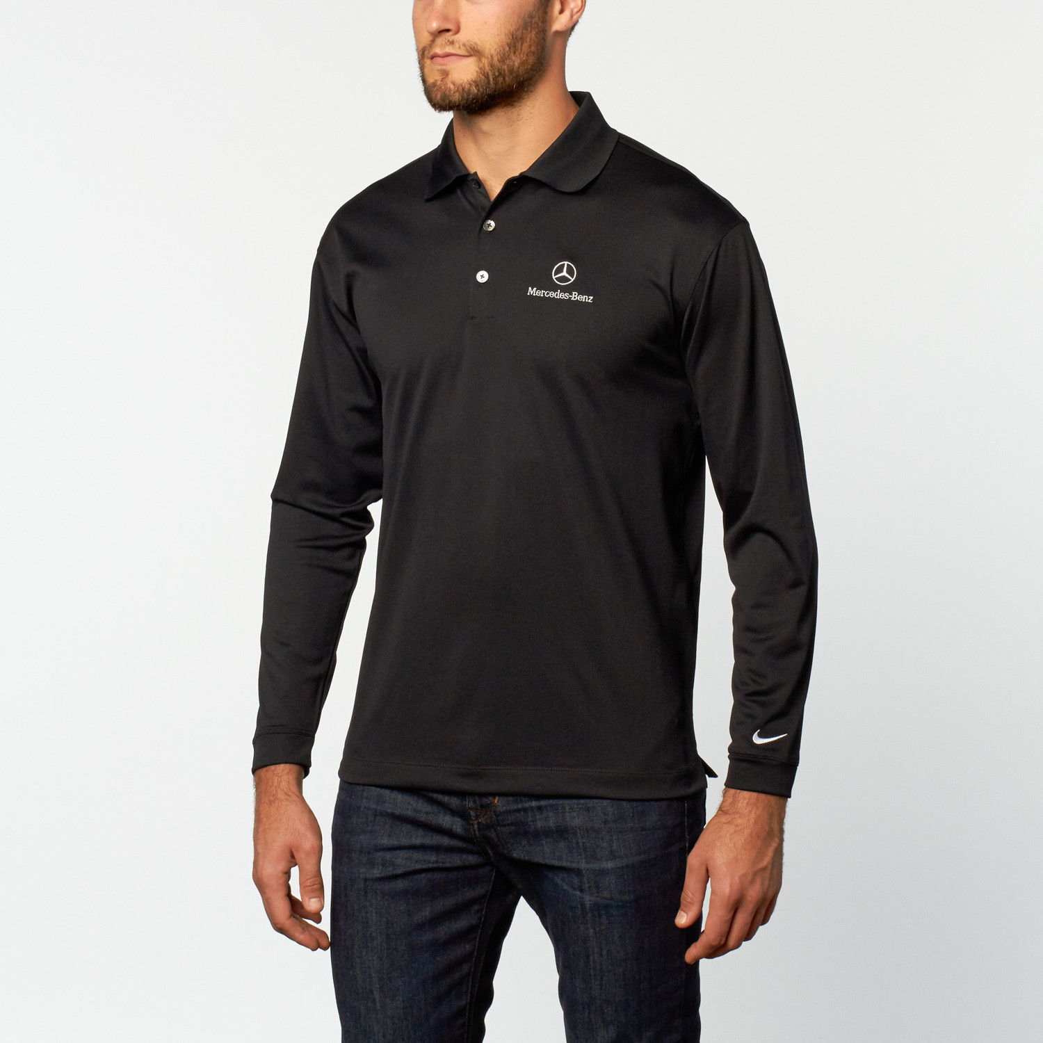 Nike long sleeve stretch polo black s mercedes benz for Mercedes benz sweater