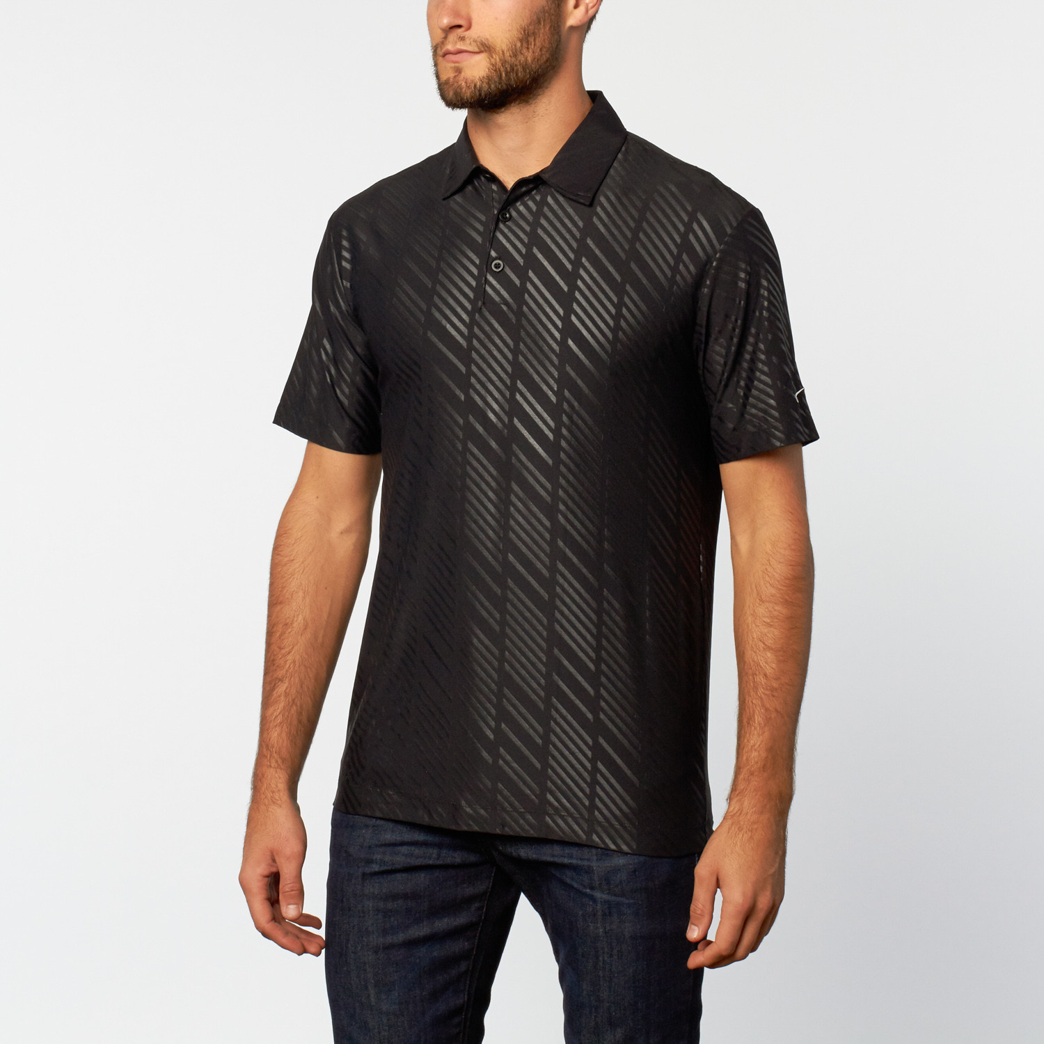 Nike embossed performance polo black s mercedes for Mercedes benz wear