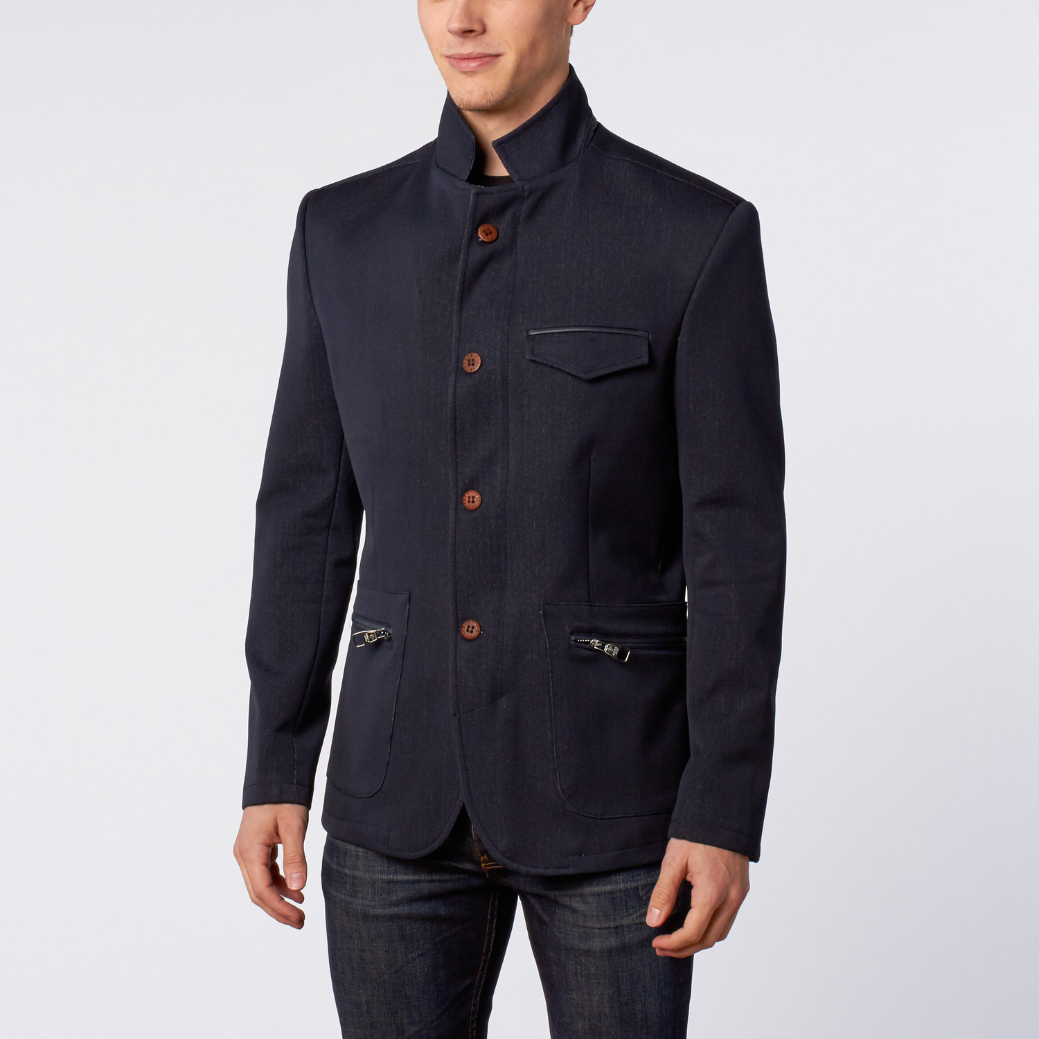 093879dfc433 Stand Collar Jacket    Navy (M) - Ron Tomson - Touch of Modern