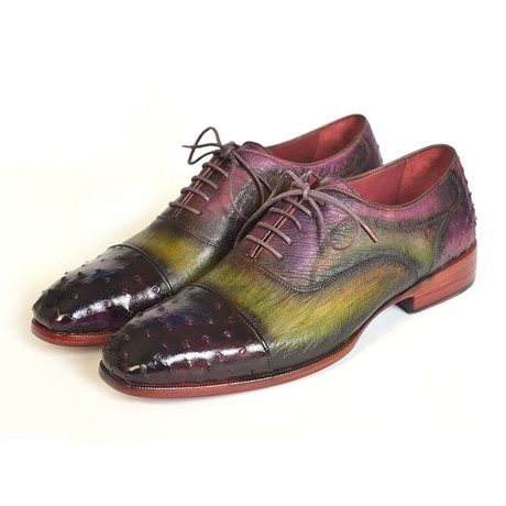Leather + Genuine Ostrich Cap-Toe Oxford // Green + Purple (Euro: 38)