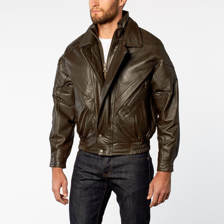 Classic Double-Collared Leather Bomber Jacket // Brown