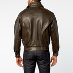 Classic Double-Collared Leather Bomber Jacket // Brown (XS)