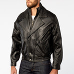 Classic Double-Collared Leather Bomber Jacket // Black (L)