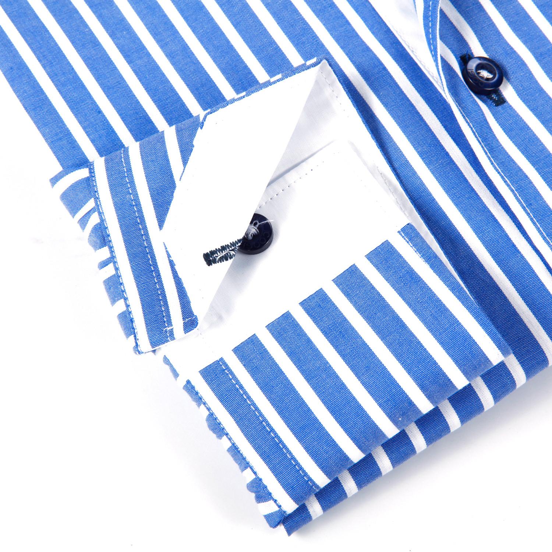 Striped Button Up Shirt Sea Blue White S Coogi