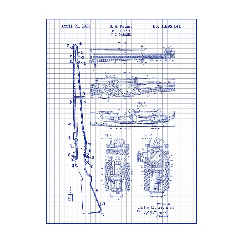 M1 Garand Blue Grid Gun Patent Prints Touch Of Modern