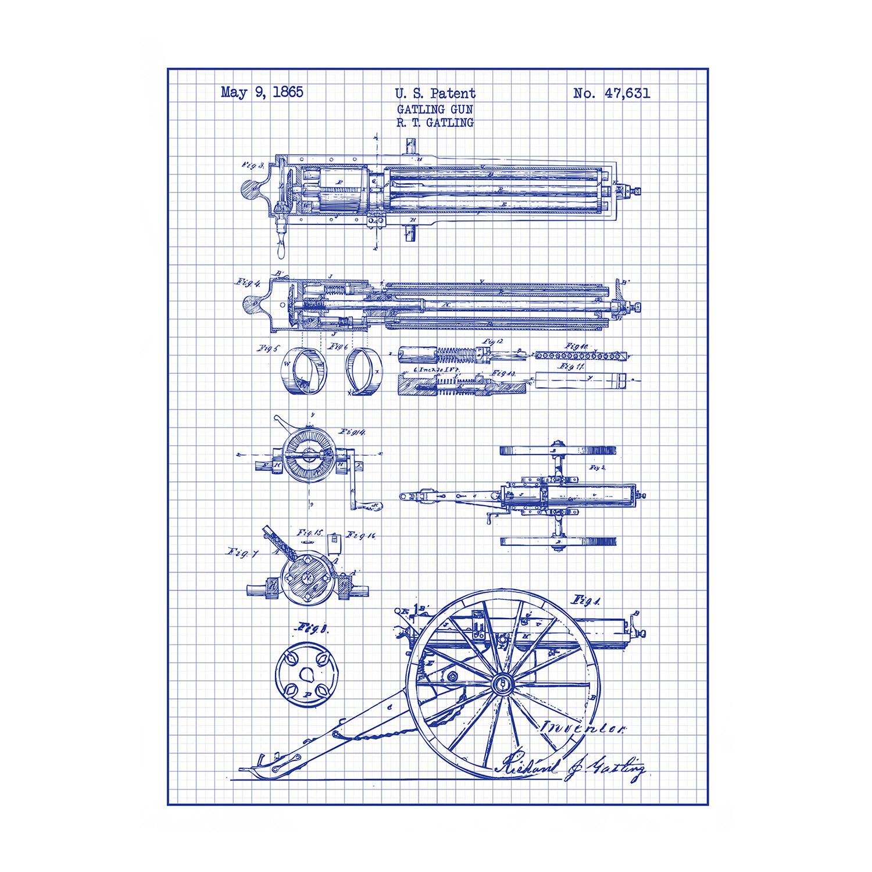 Gatling Design gatling gun blue grid gun patent prints touch of modern