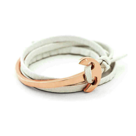 White Leather Anchor Rose Gold