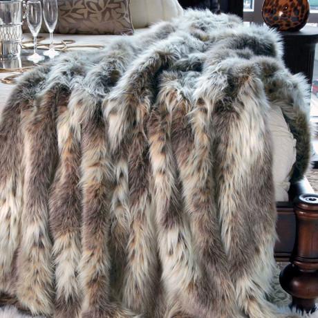 Limited Edition Faux Fur Throw // Russian Lynx