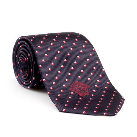 Adonis Silk Tie // Black + Red Dot