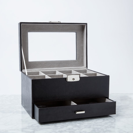 8 Slot Watch Box + Drawer Box // Black Leather