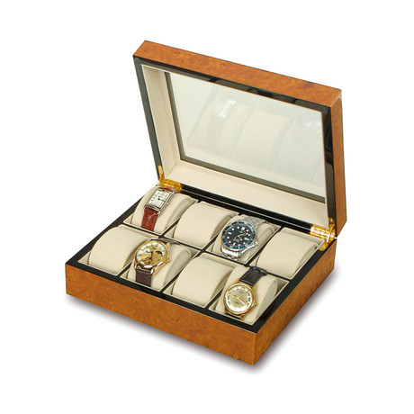 Glass Top 8 Watch Collector Box // Walnut Burl