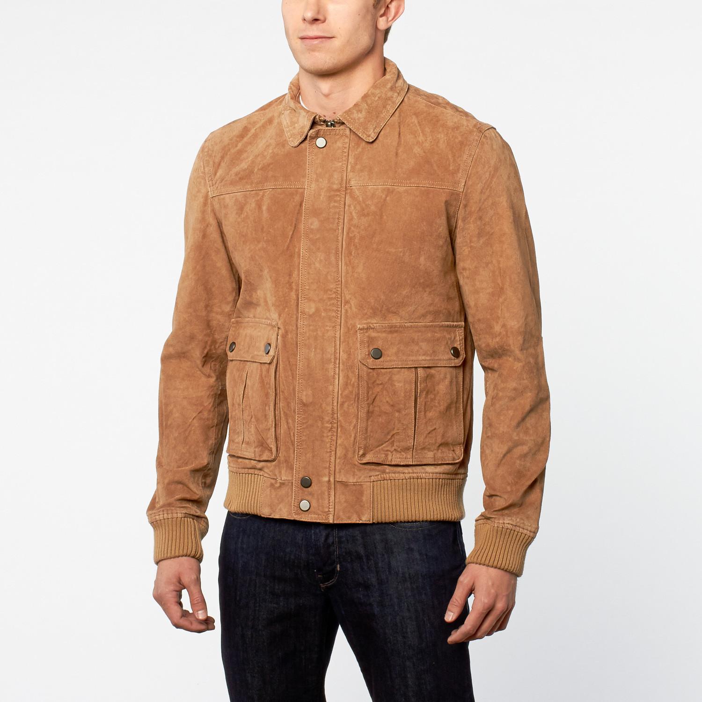 Leather jacket xs - Barneys Hardy Split Leather Er Jacket Sand Xs
