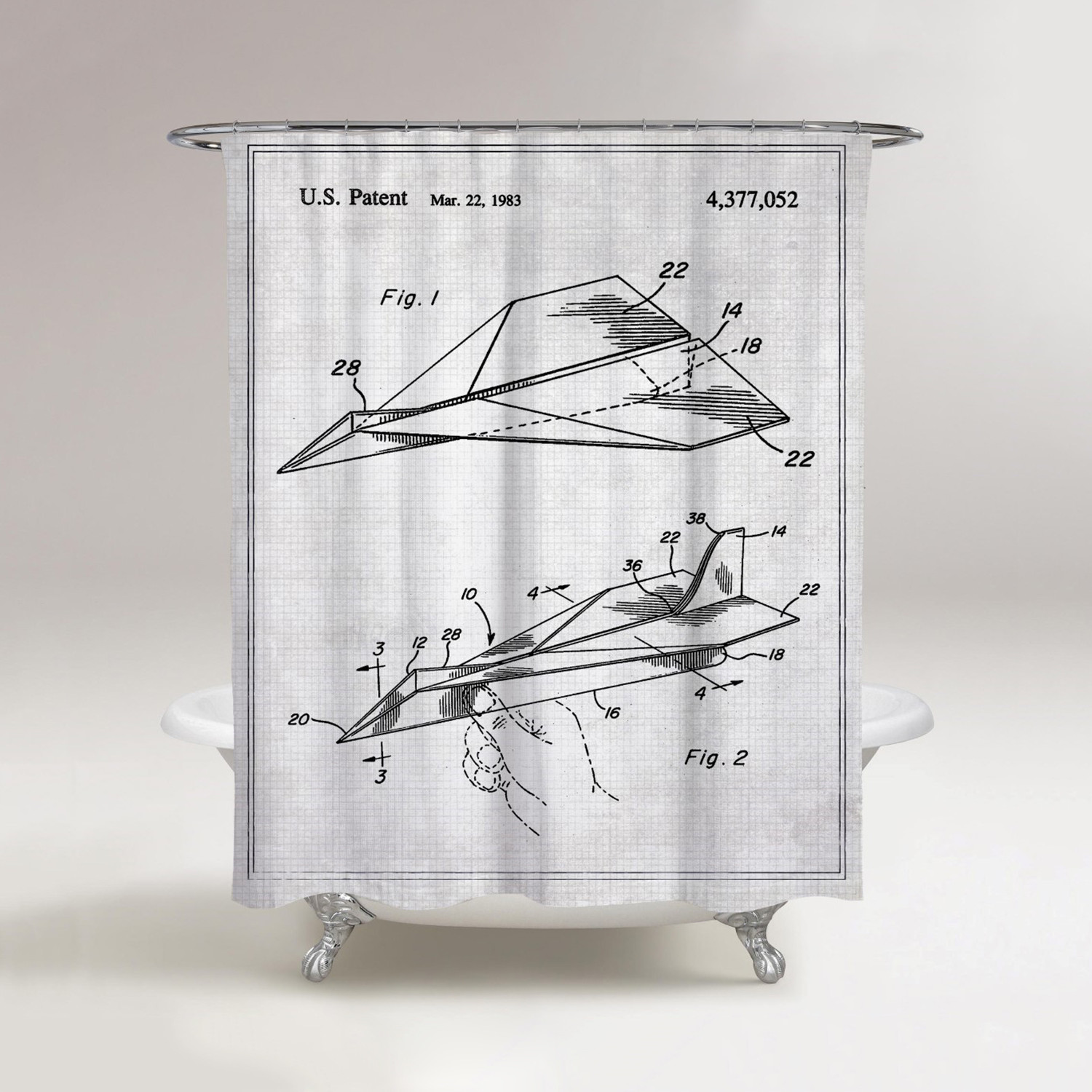 Folded Paper Airplane Shower Curtain 1983