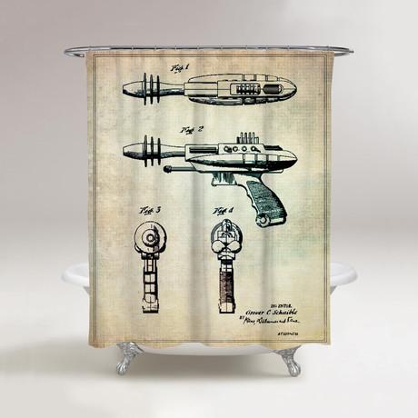 015dd8b34dac6d8f4b1f2458377a98ec Medium Pyrotomic Disintegrator Gun Shower Curtain