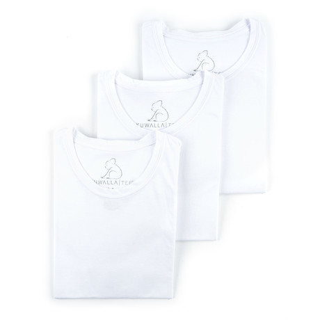 Crew Neck Essential Cotton Tee Pack // Set of 3 // White (S)