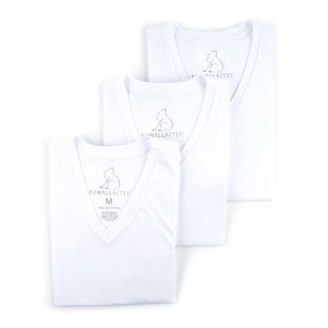 V-Neck Essential Cotton Tees // Set of 3 // White (S)