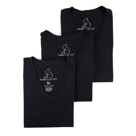 V-Neck Essential Cotton Tees // Set of 3 // Jet Black (S)