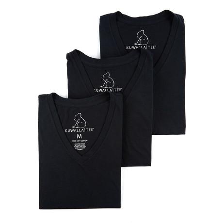 V-Neck Essential Cotton Tees // Set of 3 // Jet Black (S)
