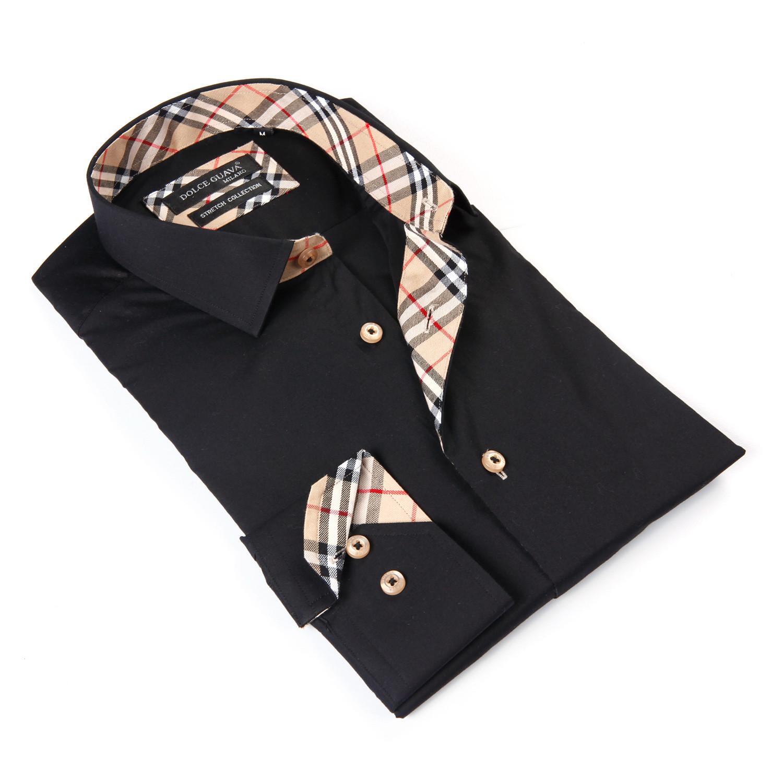 button up shirt light plaid trim black s dolce. Black Bedroom Furniture Sets. Home Design Ideas