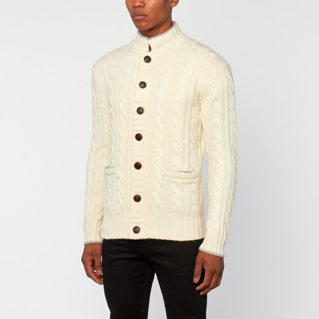 Loft 604 // Merino Wool High Neck Cable Cardigan // Ivory (S)